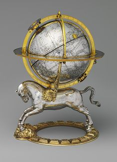 Celestial Globe with Clockwork, dated 1579 Movement by Gerhard Emmoser (Austrian, active 1556, died 1584) Made in Vienna, Austria Case of silver, partly gilt, and gilt brass; movement of brass and steel; 10 3/4 x 8 x 7 1/2 in. (27.3 x 20.3 x 19 cm), Diam. of globe 5 1/2 in. (13.8 cm) Gift of J. Pierpont Morgan, 1917 (17.190.636)