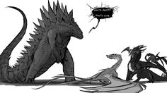 And in walked Godzilla by Tapwing.deviantart.com on @DeviantArt