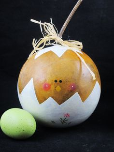 Easter baby ball chick gourd decoration-handpainted & 1269 best Gourds and Gourd Craft images on Pinterest | Gourd crafts ...