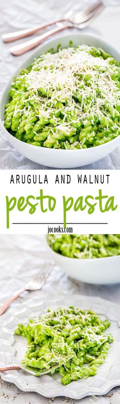 Bring a splash of color to your table with this delicious Arugula and Walnut Pesto Pasta. A refreshing and healthy pesto ready in under 5 minutes!