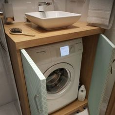 Where to Put the Washing Machine in a Small Place 7 Clever Options 01 Seven clever options to store a washing machine in small apartments. There are a number of issues that concern all owners of small apartments. Small Laundry Rooms, Laundry Room Design, Bathroom Design Small, Bathroom Layout, Bathroom Interior Design, Small Bathrooms, Small Bathroom Showers, Tiny House Bathroom, Laundry In Bathroom