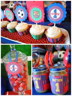 Ideas for a FC Barcelona Party. Looking for soccer party inspiration? This party is fun, colorful and full of awesome soccer treats! Sports Themed Birthday Party, Sports Party, Birthday Treats, 1st Birthday Parties, Barcelona Soccer Party, Soccer Treats, Soccer Theme, Dinners For Kids, Party Printables