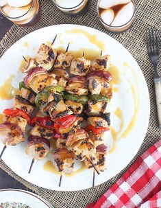 Add some flare to your backyard bash with these mouthwatering pork skewers kabobs coated in a sweet glaze of bourbon and orange juice. Quick Recipes, Other Recipes, Quick Meals, Pork Skewers, Kabobs, Bourbon Glaze, Kabob Recipes, Quick Easy Dinner, Baked Ham