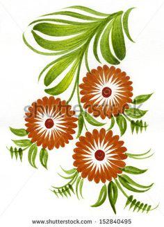 hand drawn illustration in Ukrainian folk style - stock photo