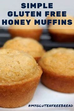 A simple muffin with a short ingredients list. These gluten free honey muffins bake up tall and golden – easy to make and easy to eat. These light and airy, tender and moist muffins are delightful. Gluten Free Muffins, Gluten Free Baking, Gluten Free Recipes, Bread Recipes, Bon Dessert, Thing 1, Sans Gluten, Nutritious Meals, Food Items