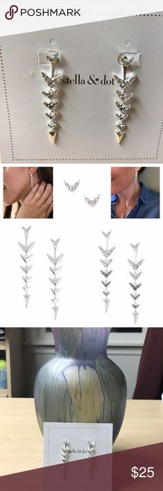 Stella & Dot Arrow earrings Never worn... display only... 3-in-1 ways to wear (see photo) Stella & Dot Jewelry Earrings