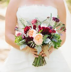deep red bouquet of garden roses, dusty miller, scabiosa, and dahlia