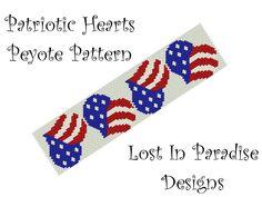 Peyote Bracelet Pattern - Patriotic Hearts - Peyote Stitch Pattern (Buy any 2 and get one Free). $6.50, via Etsy.