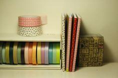 washi tape notebook, set of 2 decorated masking tape notebooks, wraped like a present.