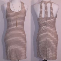 Nude Bodycon Dress Cute cut out back! Great condition. Size L. Dresses Midi