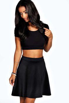 $14, Black Skater Skirt: Boohoo Roseanna Colour Pop Skater Skirt. Sold by BooHoo. Click for more info: http://lookastic.com/women/shop_items/172099/redirect