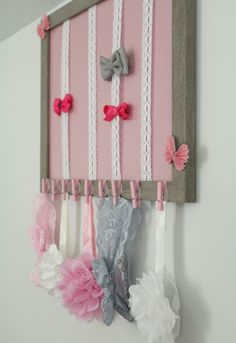 Gray white and light pink nursery for a baby girl- Hair bow and headband decorative storage in picture frame