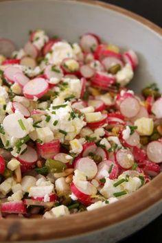 Salade de radis Pour deux 1 botte de radis 1 crottin de chavignol 100g de chèvre frais 1 bouquet de ciboulette fraiche finement ciselée Les zestes d'un citron jaune finement émincés 1 poignée de pignons de pin 1 poignée de pistaches Assaisonnement : huile d'olive + jus de citron