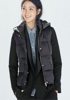 Navy Blue Patchwork Hooded Vest