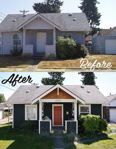 Exterior update help 1960 39 s yellow brick ranch homes pinterest the flowers shrubs and for Exterior bungalow renovations before and after