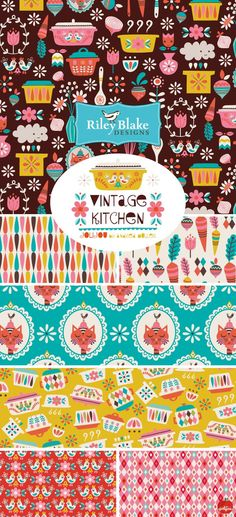 Vintage Kitchen for Riley Blake Designs - coming soon! Available for preorder via https://www.rileyblakedesigns.com/shop/category/riley-blake-designs/coming-soon/vintage-kitchen/
