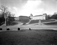 Lee Edwards High School (currently Asheville High School), just after construction was completed (approx 1929). No trees or shrubbery had been planted yet.