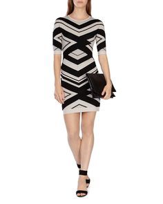 Karen Millen Chevron Stripe Knit Dress