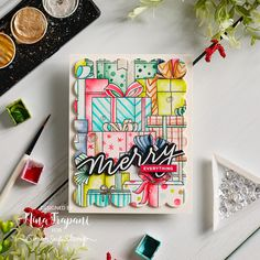 Watercoloring a Stack of Presents - this is SO much fun! | Nina-Marie Design