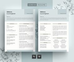 Simple Resume Template Cunningham by AdeevaResume on @creativemarket