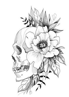 Blumen tattoo designs skizzen schdel ideen flowers tatto tattoos tatto fonts 50 stunning sugar skull tattoo design ideas their meanings Floral Skull Tattoos, Skull Tattoo Flowers, Skull Girl Tattoo, Floral Tattoo Design, Skull Tattoo Design, Flower Skull, Flower Tattoo Designs, Tattoo Designs Men, Flower Tattoos