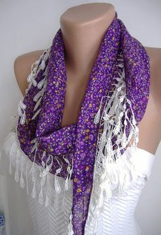 Purple Flowered and Elegance Shawl with Lace Edge by womann, $13.50