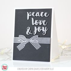 Caryn Davies for Avery Elle Supplies: Wonky Stitches Dies Beautiful Bow Clear Stamps Peace Love Joy Dies