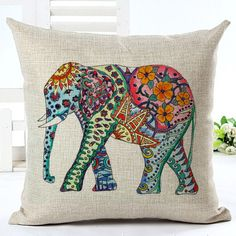 Cute Colorful India Elephant Pillowcase Pillow Cover Cotton Linen Chair Seat and Waist Square 45x45cm Cushion Cover Home Living