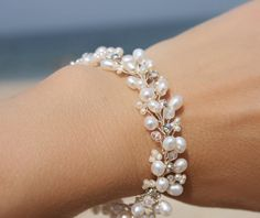Rhinestone, crystal, and freshwater pearl wedding bracelet