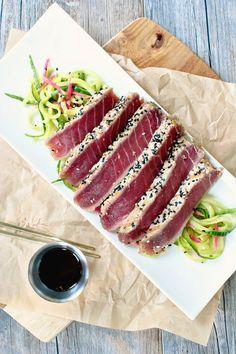 Sesame Crusted Ahi Tuna Steak with Spiralized Cucumber Salad Ahi Tuna Steak Recipe, Tuna Steak Recipes, Tuna Steaks, Fish Recipes, Seafood Recipes, Cooking Recipes, Recipies, Asian Recipes, Tuna Dishes