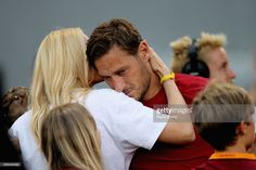 Francesco Totti of AS Roma cries after his last match with his wife Ilary Blasi after the Serie A match between AS Roma and Genoa CFC at Stadio Olimpico on May 28, 2017 in Rome, Italy.