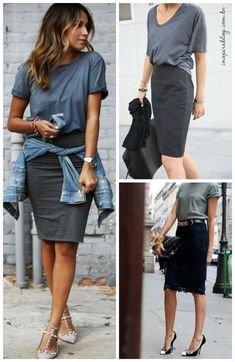 how to style a t-shirt with a pencil skirt || how to dress up a t-shirt || wear a t-shirt to the office || casual office outfit inspiration