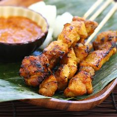 Malaysian chicken satay recipe. Perfect for summer time grilling.