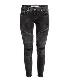 Black. 5-pocket jeans in washed stretch denim with quilted sections, heavily…