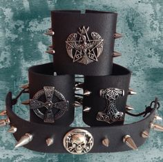 Leather cuffs and chokers