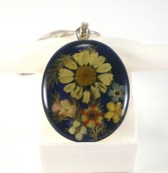 Vintage Dried Flower Pendant Necklace Sterling Silver by paleorama,