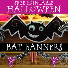 """Free printable Halloween decorations: """"demented bat"""" and matching pennant banners"""