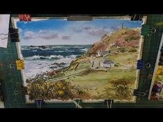 Learn to paint Blue Sea, beach, Clouds and Cottages Cape Cornwall Watercolour Demonstration - YouTube