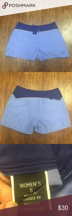 Patagonia women's board shorts Never worn Patagonia board shorts. Size 5. Blue/periwinkle color. Tie front Patagonia Swim