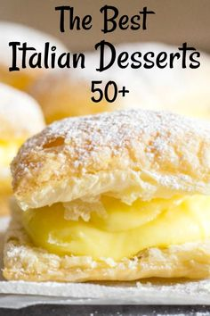 50 Italian Desserts from cookies to pastries creamy cakes and fast and easy no bake recipes Mini Desserts, French Dessert Recipes, Italian Cookie Recipes, Desserts For A Crowd, Easy Baking Recipes, Delicious Desserts, Cooking Recipes, Easy Italian Desserts, Italian Cookies