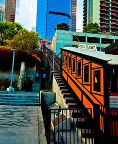 Angels flight    This angels flight tram has been in Los Angeles for years and is an awesome landmark. If you are ever in L.A.  take the time and pay the 25 cents and ride the angels flight- it is worth it.