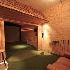 indoor driving range and putting area