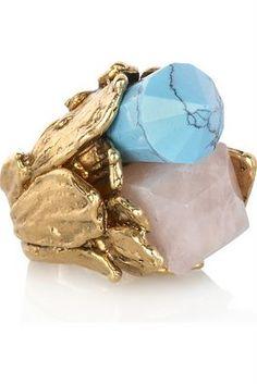amazing turquoise and quartz ring