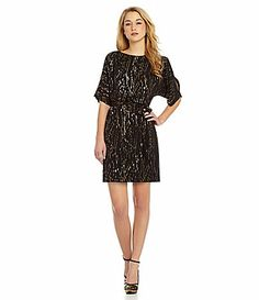 What to Wear to a Winter Wedding:  DotPrint Blouson Dress #Dillards