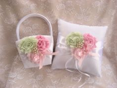 Flower Girl Basket   Ring Bearer Pillow  Pink by nanarosedesigns, $45.00