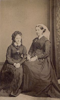 Mother and Daughter in Mourning, Albumen Carte de Visite, Circa 1872.