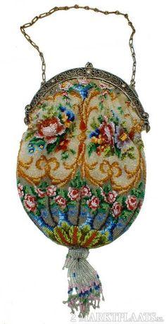 Antiek Handwerk Tasje - Zilveren Handvat Gemerkt Ned. Keur