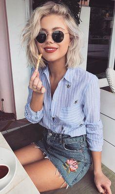 summer outfits Blue Striped Shirt + Floral Denim Skirt