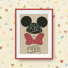 BUY 2 GET 1 FREE You be my Mickey cross stitch von NataliNeedlework