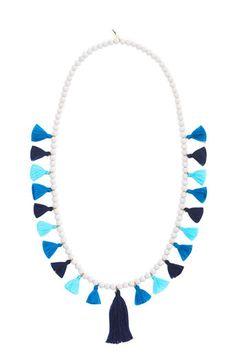 Multi Tassel Wood Bead Necklace